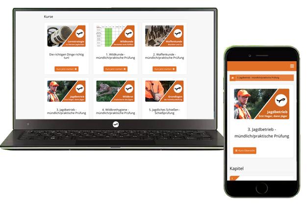 Online-Lernsystem--Jagdschein-Akademie-Notebook-Smartphone